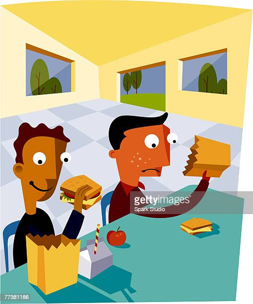 two boys eating out of their lunch bags - lunch break stock illustrations, clip art, cartoons, & icons
