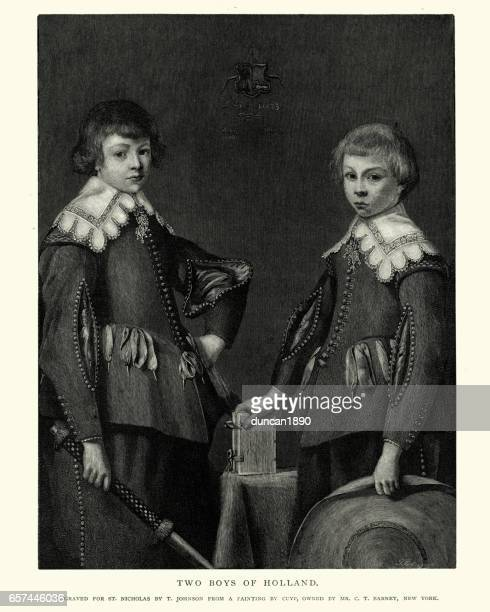 two boys of holland after the painting by aelbert cuyp - fine art portrait stock illustrations