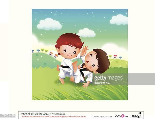 ilustraciones, imágenes clip art, dibujos animados e iconos de stock de two boys practicing karate - maltrato infantil