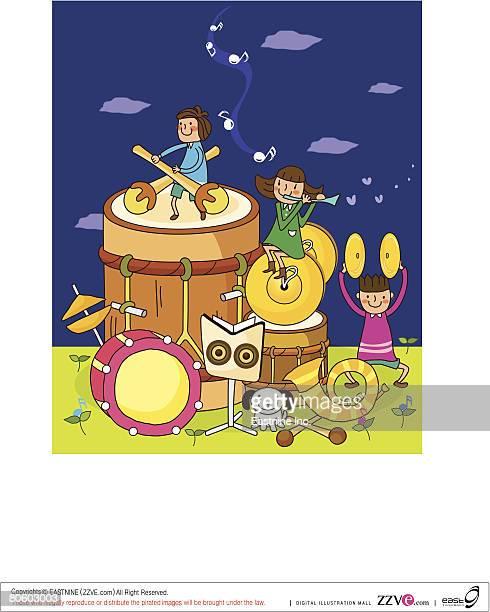 illustrations, cliparts, dessins animés et icônes de two boys with a girl playing musical instruments - pupitre à musique