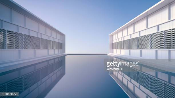 two buildings of holiday resort reflecting in the water of the pool, 3d rendering - bungalow stock illustrations, clip art, cartoons, & icons