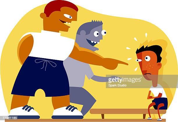 ilustraciones, imágenes clip art, dibujos animados e iconos de stock de two bullies pointing at another boy - bullying escolar