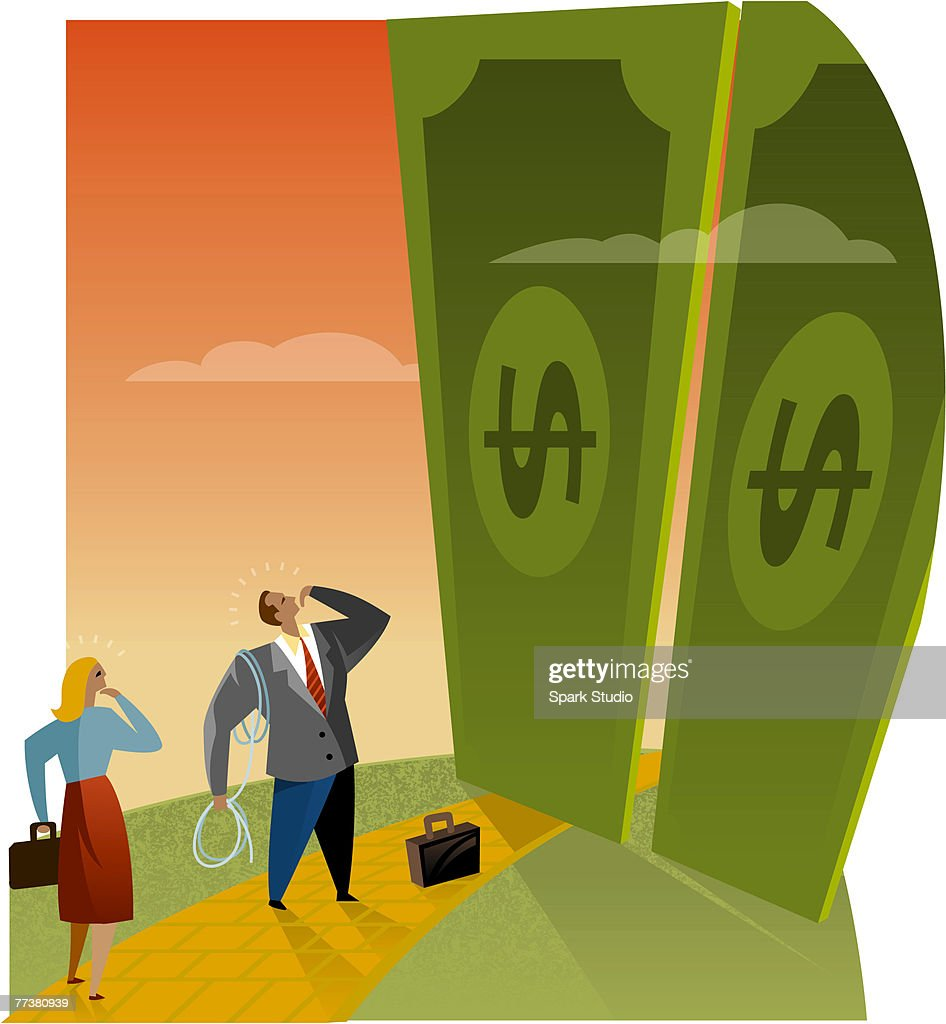 Two business people looking at giant doors made of money : Illustration