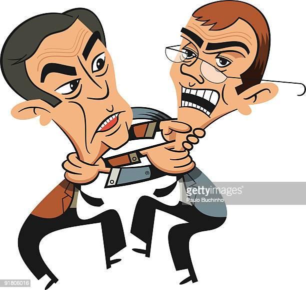 ilustrações de stock, clip art, desenhos animados e ícones de two businessmen fighting - buchinho