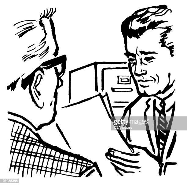 two businessmen reviewing a document - report stock illustrations