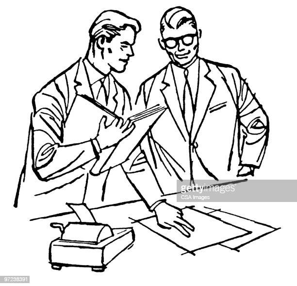 two businessmen reviewing documents - report stock illustrations