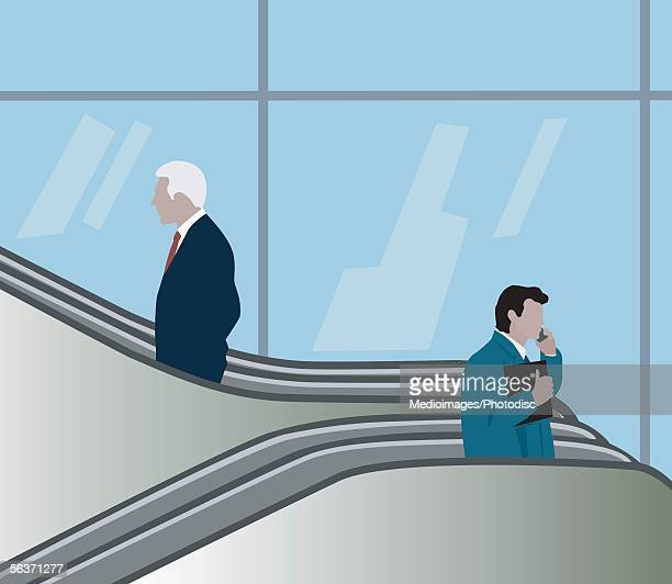 two businessmen riding escalators in opposite directions at airport - escalator stock illustrations, clip art, cartoons, & icons