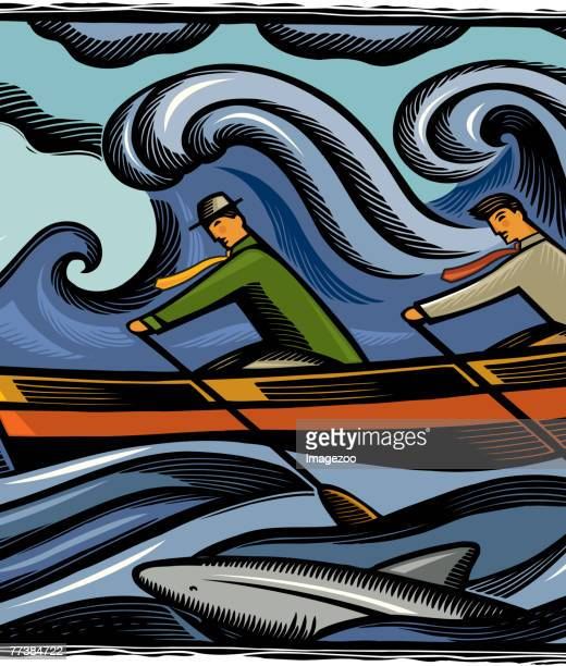 two businessmen rowing through shark infested waters - infestation stock illustrations, clip art, cartoons, & icons