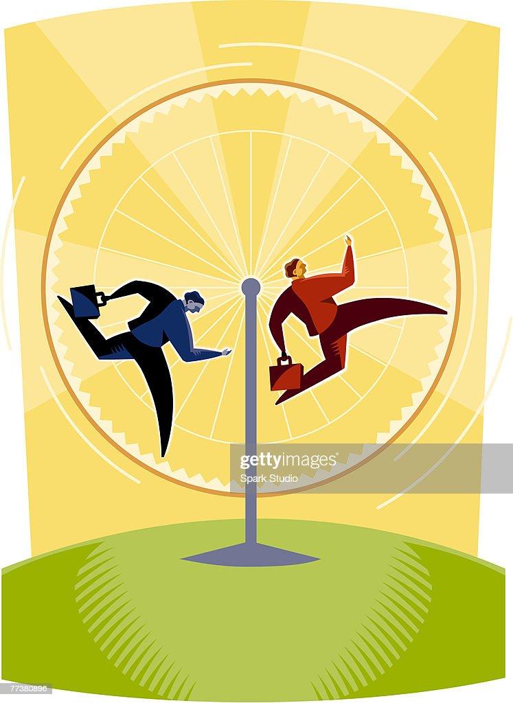Two businessmen running around inside a wheel : Illustration