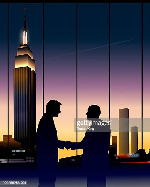 two businessmen shaking hands, city skyline in background, dusk - two people stock illustrations