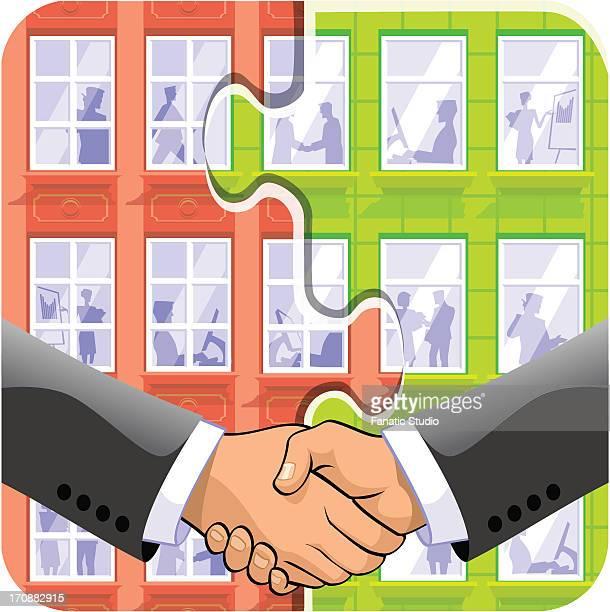 two businessmen shaking hands - religious celebration stock illustrations