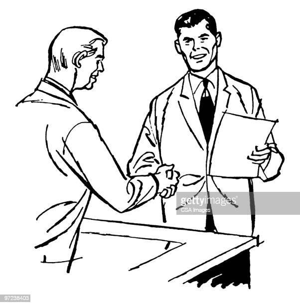 two businessmen shaking hands - セールスマン点のイラスト素材/クリップアート素材/マンガ素材/アイコン素材