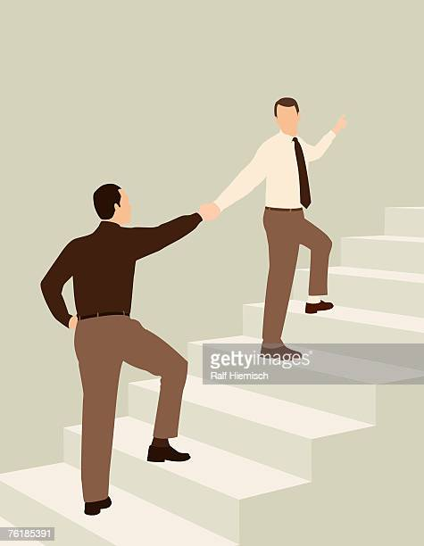 two businessmen shaking hands while standing on steps - meeting stock illustrations