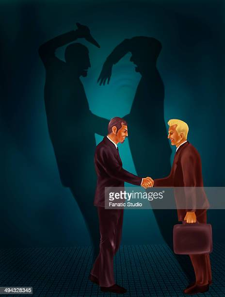 two businessmen shaking hands with behind black shadows showing crime - office politics stock illustrations, clip art, cartoons, & icons