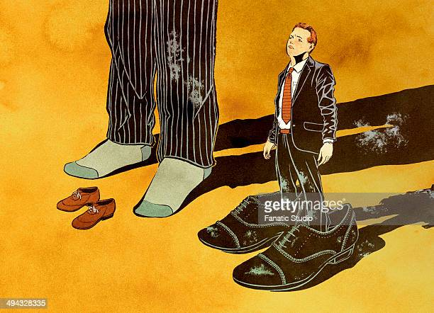 two businessmen with odd-sized shoes - downsizing unemployment stock illustrations, clip art, cartoons, & icons