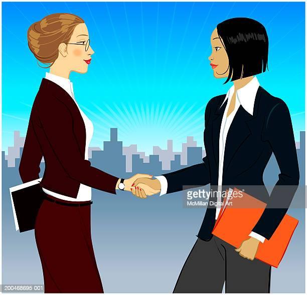 illustrations, cliparts, dessins animés et icônes de two businesswomen shaking hands, side view - femme d'affaires
