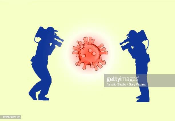 ilustraciones, imágenes clip art, dibujos animados e iconos de stock de two cameramen filming a coronavirus depicting media coverage of the pandemic - fake news