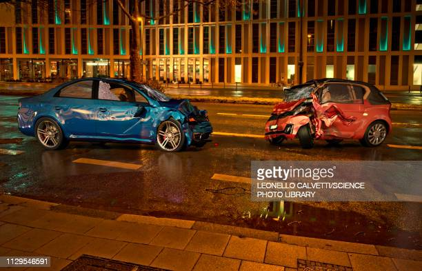 two cars accident at night, illustration - graphic car accidents stock illustrations
