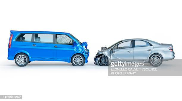 ilustraciones, imágenes clip art, dibujos animados e iconos de stock de two cars crashed in accident, illustration - turismo coche particular