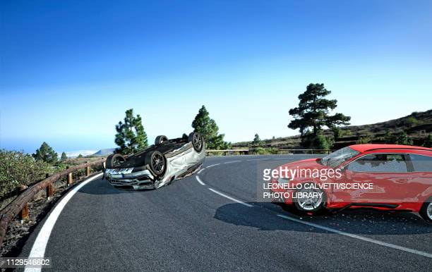 two cars crashed in the countryside, illustration - graphic car accidents stock illustrations