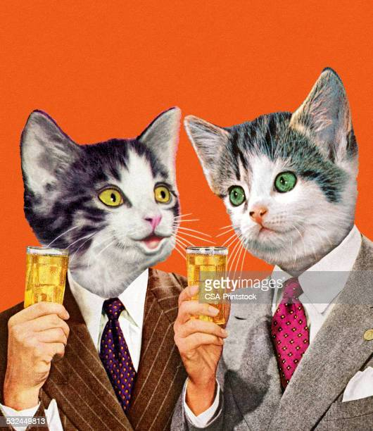 Two Cat Businessmen Holding Drinks