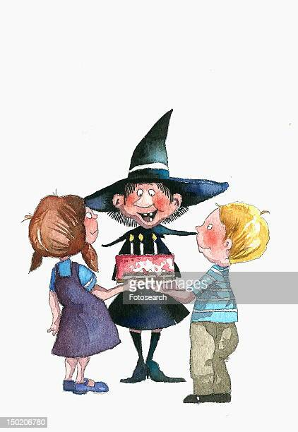 two children presenting a birthday cake to a witch - 8 9 years stock illustrations, clip art, cartoons, & icons
