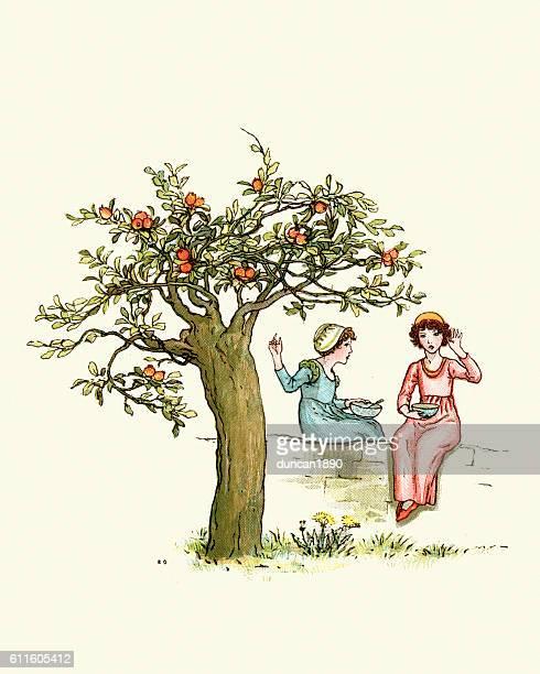 ilustrações de stock, clip art, desenhos animados e ícones de two children under the orange tree - laranjeira