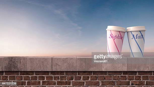 Two coffee mugs with names on wall at sunset, 3D Rendering