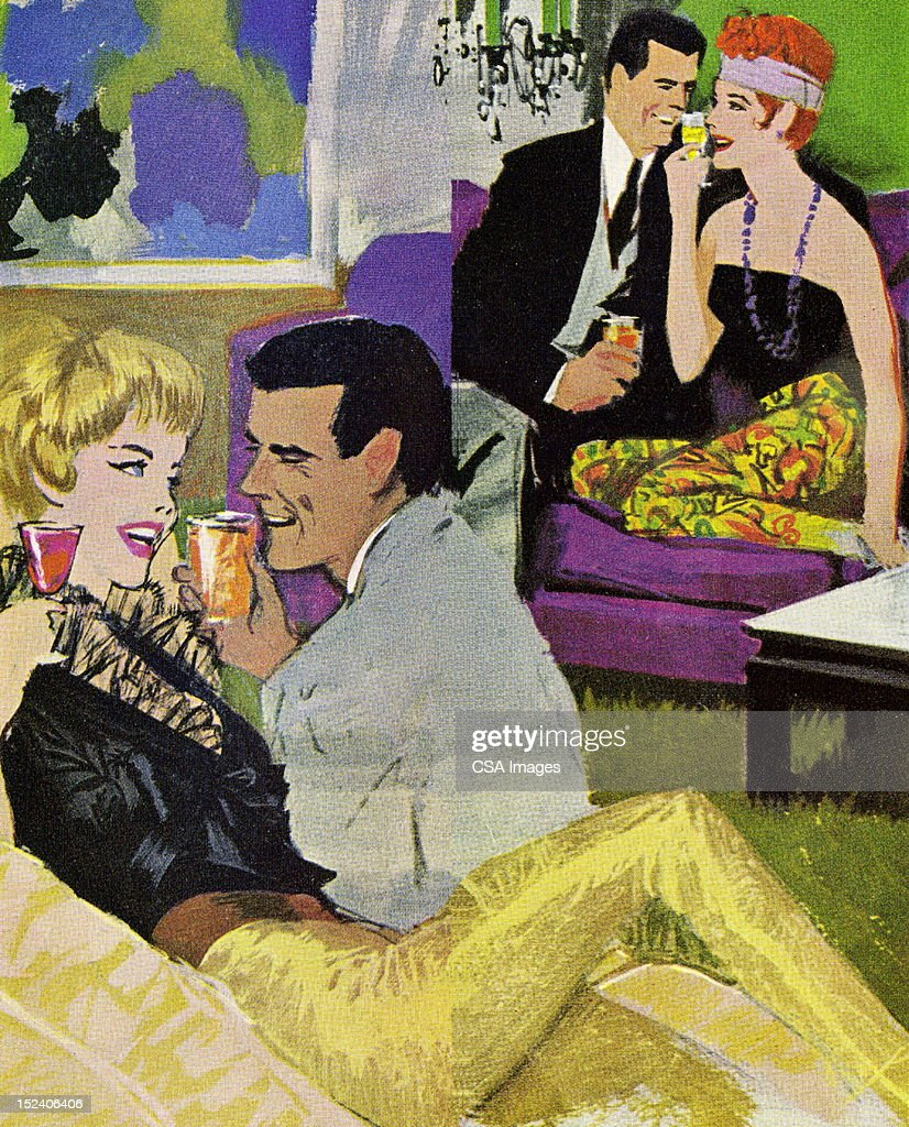 Two Couples at Party : stock illustration