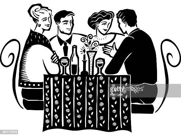Two couples having wine at a table