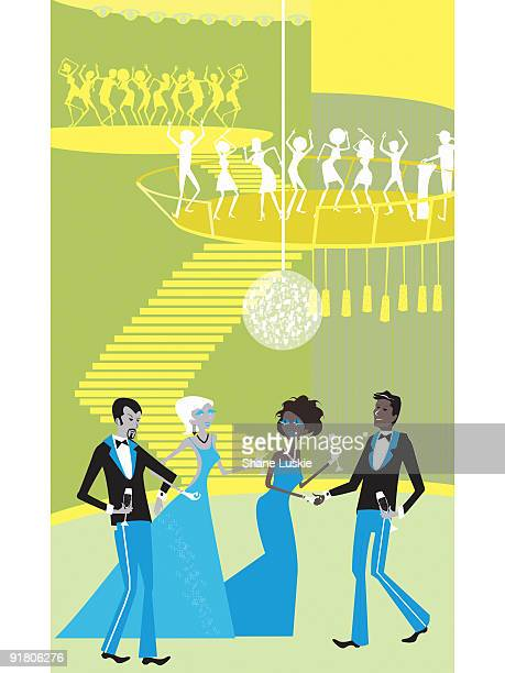 two couples meeting at a black tie event with party goers dancing behind them - arm in arm stock illustrations, clip art, cartoons, & icons