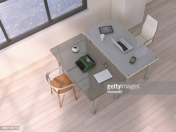 Two desks with different equipments, 3D Rendering