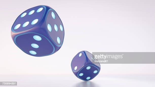 two dices, 3d rendering - toy stock illustrations