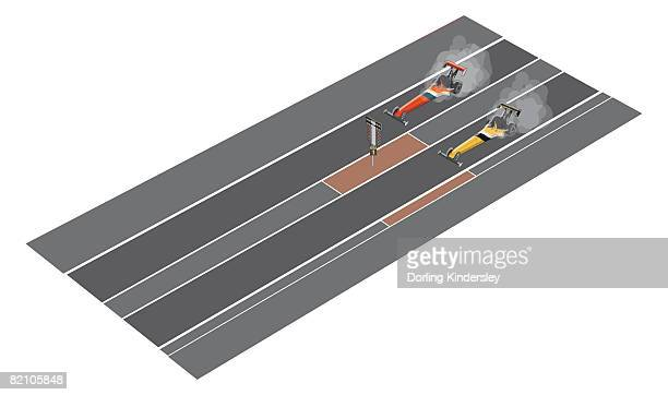 Two dragsters on drag racing speedway
