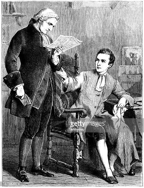 Two eighteenth-century gentlemen discussing a newspaper article (Victorian illustration)