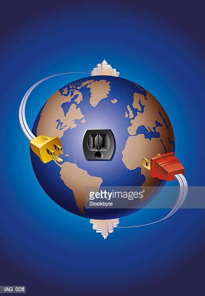 Two electrical plugs circling globe, heading for same outlet
