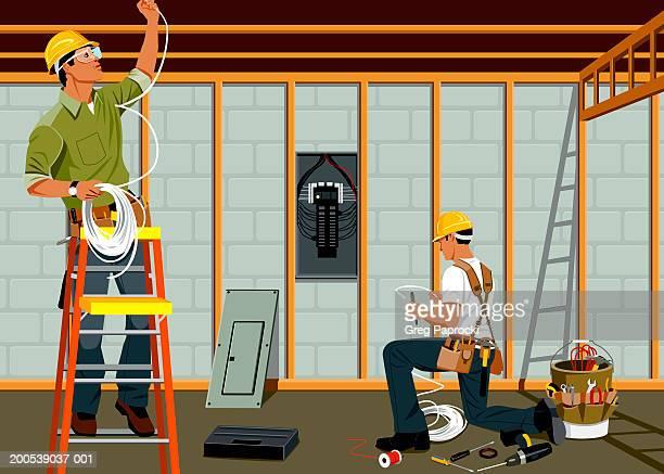 ilustraciones, imágenes clip art, dibujos animados e iconos de stock de two electricians installing cables on construction site - electricista