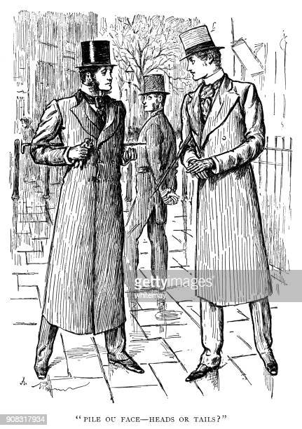 Two elegant Victorian men making a decision in a city street