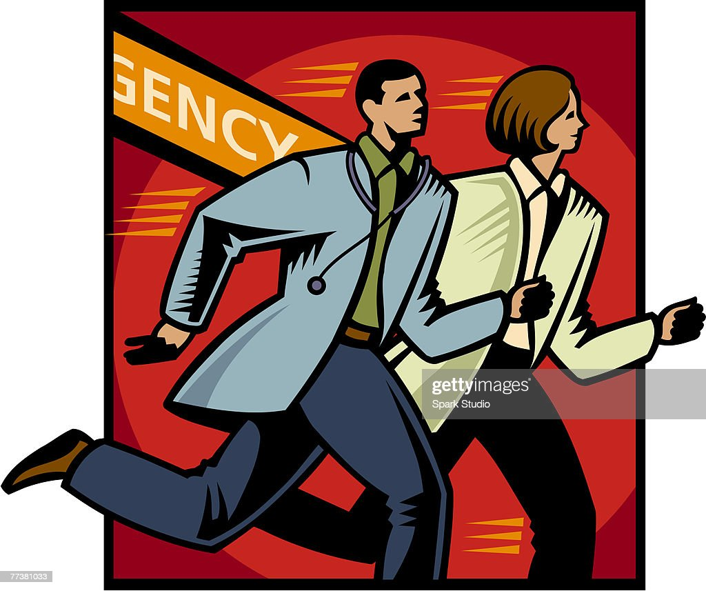 Two emergency doctors rushing to the scene : Illustration