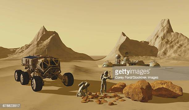 two explorers take their vehicle to collect rock samples to take back to their mars habitat. - colony stock illustrations