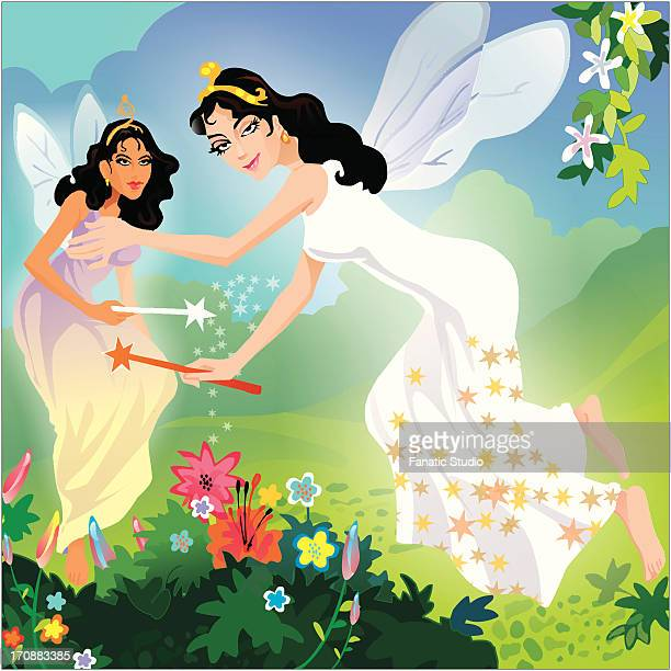 two fairies holding magic wands - brownie stock illustrations, clip art, cartoons, & icons
