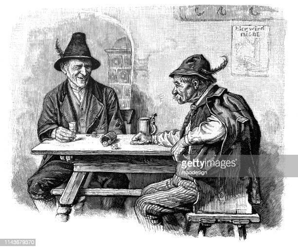 zwei bauern im bartrink-bier-1896 - bartresen stock-grafiken, -clipart, -cartoons und -symbole