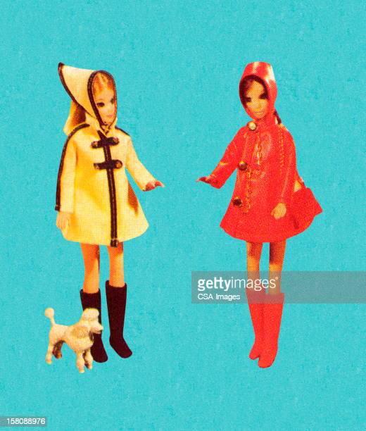2 つのファッション人形のレインギア - 人形点のイラスト素材/クリップアート素材/マンガ素材/アイコン素材