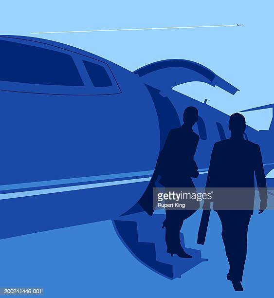 two figures stepping out of aeroplane - disembarking stock illustrations