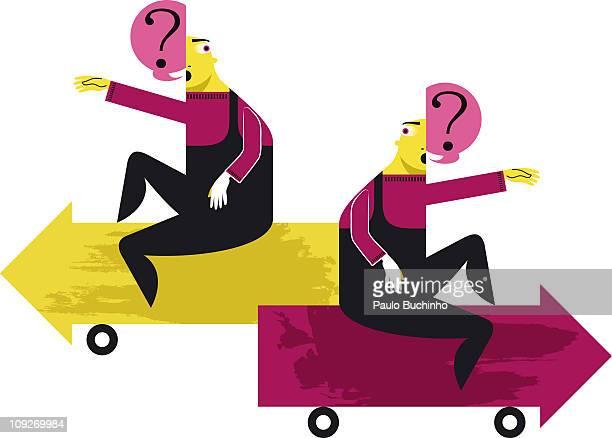 ilustrações de stock, clip art, desenhos animados e ícones de two figures with questions sitting on arrow automobiles - buchinho
