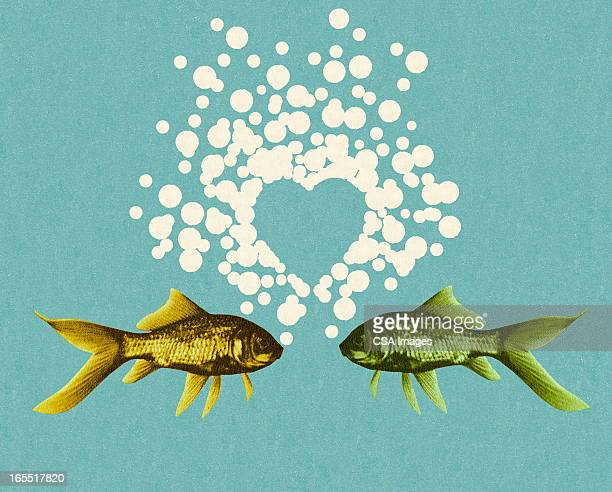 two fish and bubble heart - fish love stock illustrations