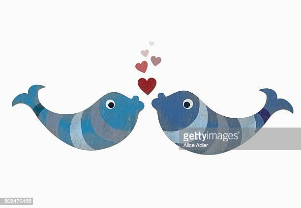 stockillustraties, clipart, cartoons en iconen met two fish with heart shape bubbles against white background - fish love