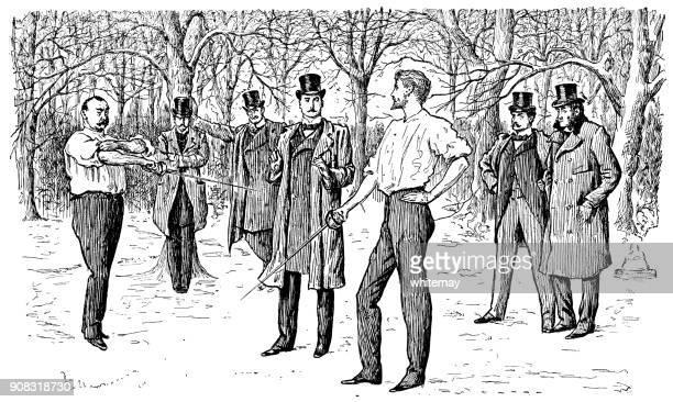 Twee Fransen voorbereiden om af te wikkelen van een argument met duellerend zwaarden