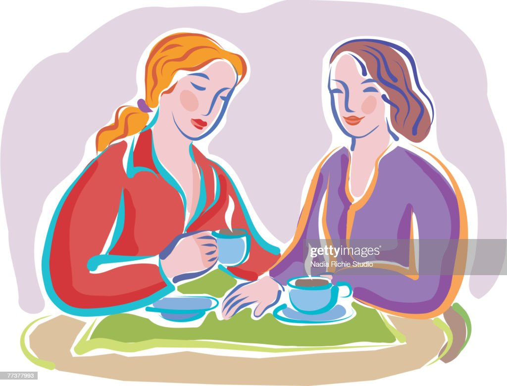 Two friends chatting over tea : Illustration