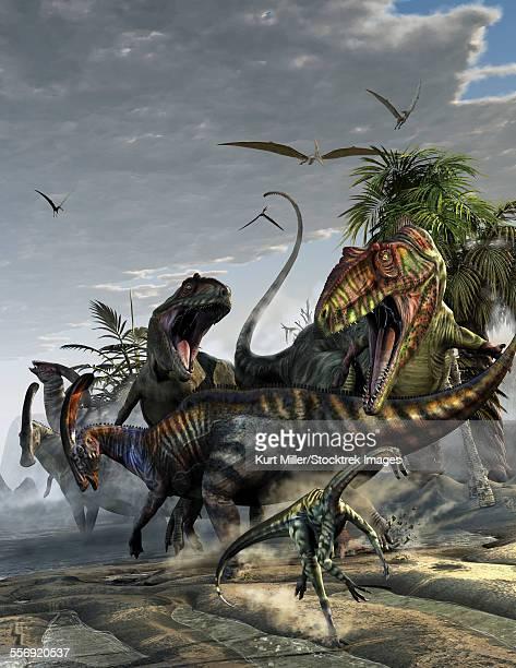 two giganotosaurus trying to capture a parasaurolophus. - 待ち伏せ点のイラスト素材/クリップアート素材/マンガ素材/アイコン素材